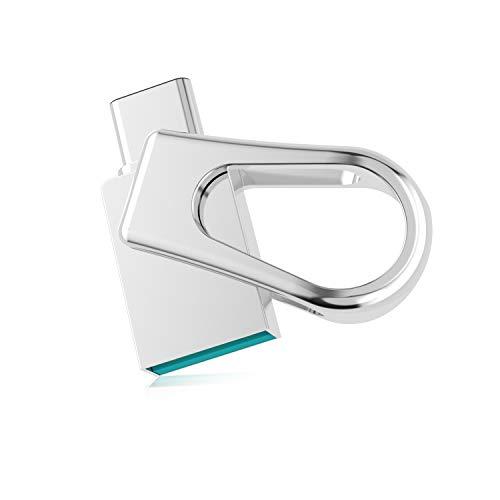 RAOYI Typ C USB 3.0-Flash-Laufwerk 64 GB, Metall-Dual-Drive-wasserdichter Mini-USB-Speicherstick für MacBook, Samsung, Huawei, Silber (Metall-flash-laufwerk)