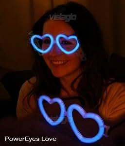 Lot de 10 paires de Lunettes Fluo Coeur Bleues - idéal pour vos soirées