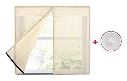 JLDN 2PCS Window Screen Mesh-Vorhang, magnetisch Automatisches Schließen Strapazierfähig Résistant à la déchirure, passend für mehrere Fenster,Beige_100x180CM