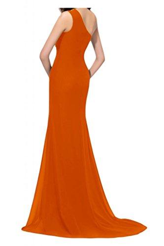 Toscane mariée abendmode abendkleider tuell en chiffon avec fente longue promkleider ball solide Orange - Orange