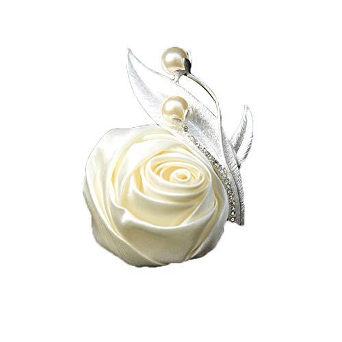 onniere Hochzeit Seide Blume Ansteckblume Bräutigam Braut Knopflochblume für Anzug Hochzeit Bräutigam 10cm*10cm Beige ()