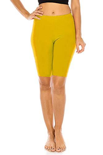 FUNGO Leggings Für Damen 1/2 Länge Capri Damen Sporthose Bunte Yoga Leggins F12 (Gelb, 42)