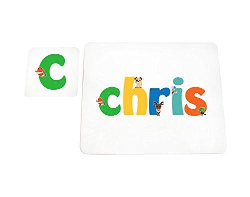 Little Helper Chris de Coast erandpl acemat de 15de personnalisée, fille nom et dessous de 4 sets de table avec finition brillant