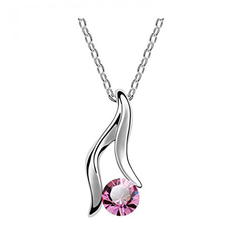 Collier cristal swarovski elements plaqué or blanc Rose