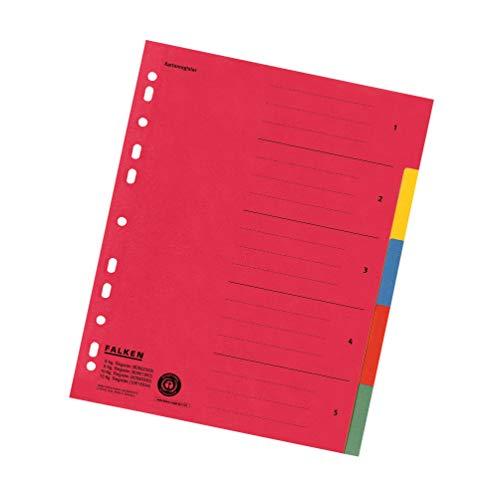 falken trennblaetter Falken Karton-Register für DIN A4 24 x 29,7 cm volle Höhe mit Organisationsdruck 5-teilig vollfarbig rot gelb blau orange grün Ringbuch Ordner Ring-mappe Ringbuch Hefter überbreit Blauer Engel für die ideale Ablage von Prospekthüllen