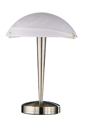 trio touch me tischleuchte mit alabasterglasschirm altmessing beleuchtung. Black Bedroom Furniture Sets. Home Design Ideas