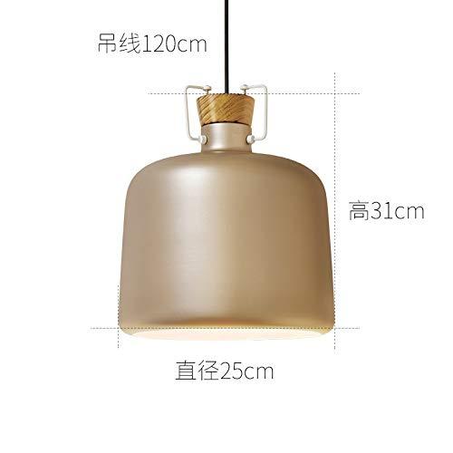 Nordic Aluminium Kronleuchter einfache Restaurant Lampe kreative Gold Durchmesser 25cm mit monochromen LED-Weißlicht 9 Watt Glühbirne -