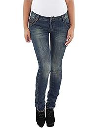 SOTALA Damen Skinny Röhren Hüft Stretch Jeans Hose Dirty Look rissen zerrissen