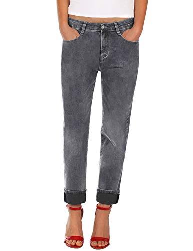 Fraternel Damen Jeans Hose Boyfriend Baggy Stretch Relaxed Grau XL / 42 - W33 -