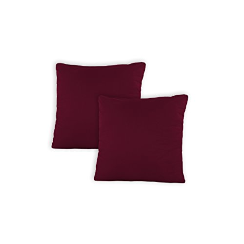 SHC - Kissenbezug 2er-Set für Dekokissen, 100% Baumwolle mit Reißverschluss - 40x40 cm, Bordeaux/weinrot