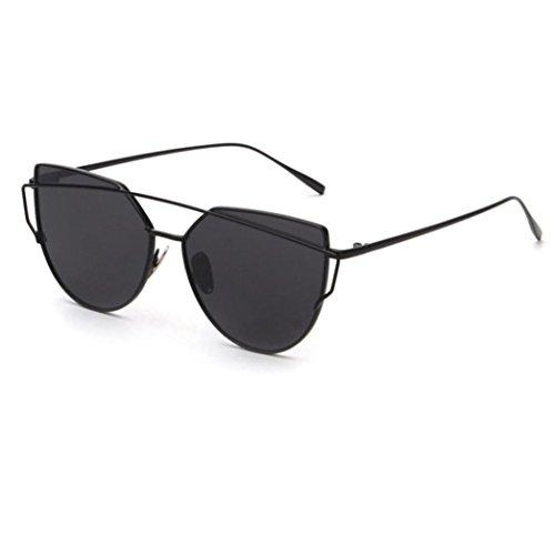 LSAltd Frauen Klassische Gläser Frauen Cat Eye Metallrahmen Spiegel Sonnenbrille Lässige Brille (Schwarz)