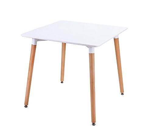 KAYELLES Table à Manger Design NATO, Carré 80x80cm, Table de Cuisine, Table de Salle à Manger Scandinave (Blanc)