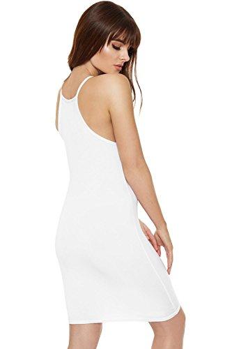 WEARALL Damen Ebene Hoch Hals Leibchen Strappy Bodycon Strecke Top Damen Mini Kleid - 5 Farben - Größe 36-42 Weiß