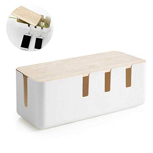 Volwco Kabelbox Groß Kabelmanagement-Box Aus ABS Kunststoff und Hölzern, Kabel Verwalten und Organisieren für Maximale Sicherheit, Weiß