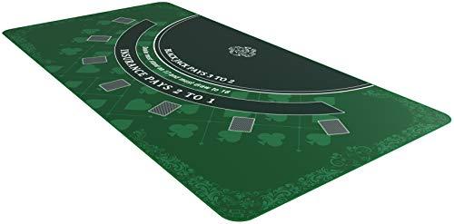 Bullets Playing Cards Blackjack Matte in 180 x 90 cm - Tischunterlage, Filz für echtes Casino-Feeling