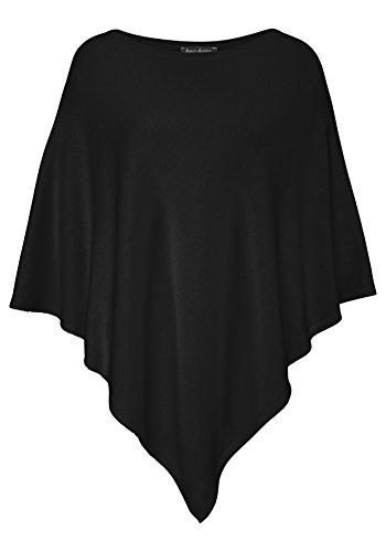 Poncho-Schal aus Baumwolle - Hochwertiges Cape für Damen - XXL Umhängetuch und Tunika - Strick-Pullover - Sweatshirt - Stola für Sommer und Winter von Cashmere Dreams - Zwillingsherz - schwarz