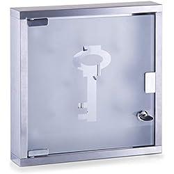 Zeller 13890 Appendichiavi in vetro e acciaio INOX, 30 x 6 x 30 cm