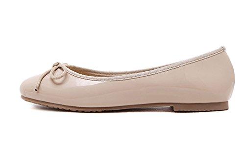 ... Damen Süß Schleife Faul Schuhe Rein Farbe Rund Zehen Anti-Rutschig  Omelett Schuhe Pink ...