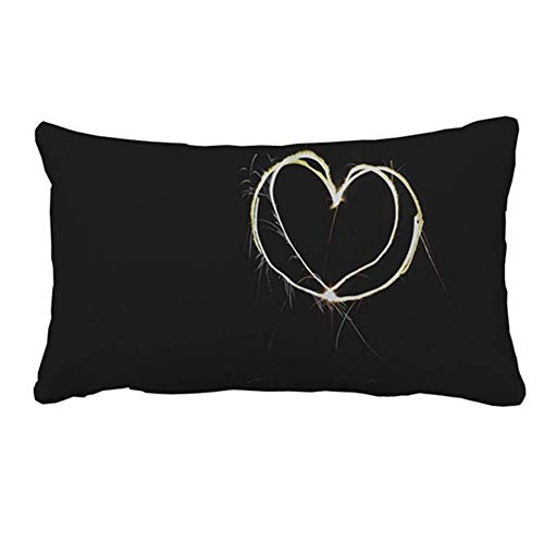 Wamnu Heart in Black Pillow Cover Case for Couch Sofa Home Decoration 20 x 30 Ikat Sari