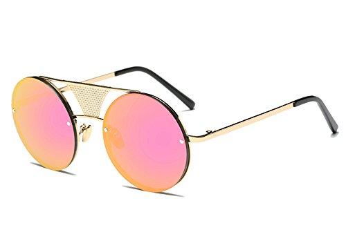 Fashion Herren Damen Sonnenbrille Steampunk rund Spiegel Unisex Brille Gr. Einheitsgröße, rose