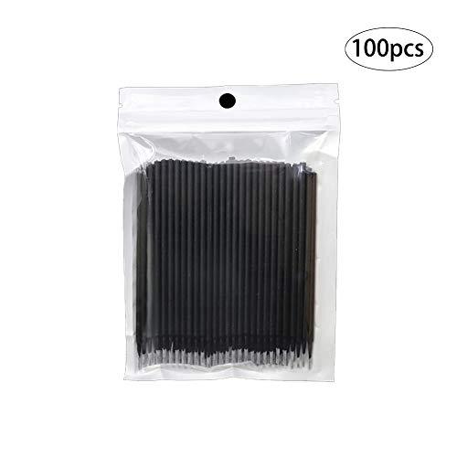 Beito 100 TEILE/SATZ Einweg Microbrush Applikatoren Wimpernverlängerung Pinsel Individuelle Wimpern Entfernen Tupfer Mascara Applikator Makeup Beauty Tools(1,2 mm, schwarz) -
