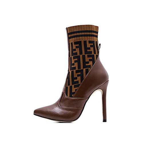 Yanyan Chaussures de Mode pour Femmes Stiletto Automne Hiver Lettre Tricot À Talons Hauts Bottes De Dames Bottes De Mariage Robe De Soirée Et De Soirée