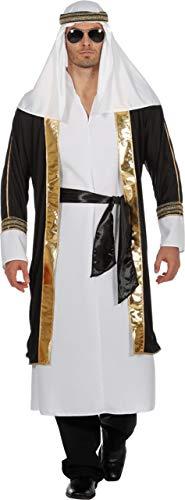 Wilbers Scheichkostüm Kostüm Scheich Araber Naher Osten 1001 Nacht Herrenkostüm Karneval Weiß/Schwarz - Araber Kostüm