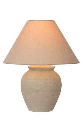 Lucide 47507/81/38 Ramzi Lampe de Table, Céramique, E27, 60 W, Crème, 34 x 34 x 42 cm