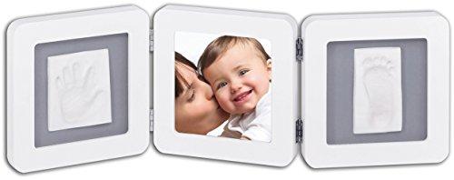 Baby Art - 34120052 - Double print frame - Portafoto con calco della manina o del piedino del bebè, Bianco