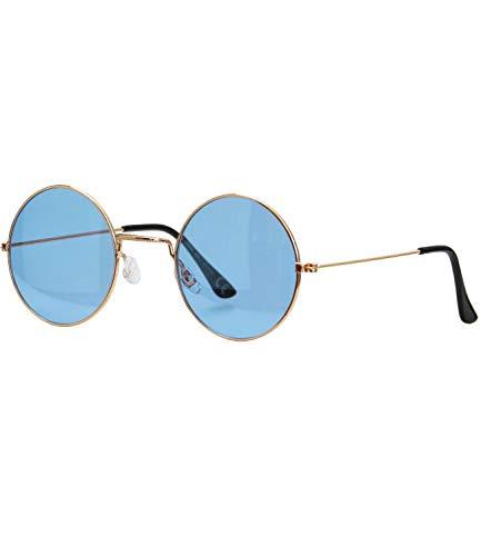 Caripe Lennon Retro Vintage Sonnenbrille Metall Damen Herren rund Nickelbrille (6826 - Gold - blau getönt)