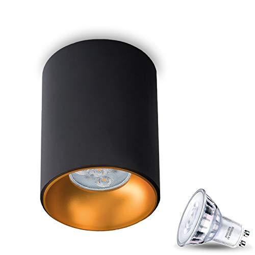 Aufbauleuchte Aufbaustrahler Aufputz Dimmbar ASTRAL (Rund,Schwarz/Gold) Inkl.1x 5W LED Warmweiss Warm Glow GU10 Fassung 230V Deckenleuchte Strahler Würfelleuchte CUBE Kronleuchter aus Aluminium Spot