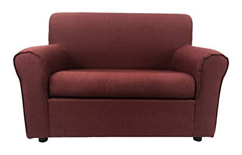 Totò piccinni divano 2 posti imbottito, con braccioli, 129 x 75 x 88 cm (tessuto, bordeaux)
