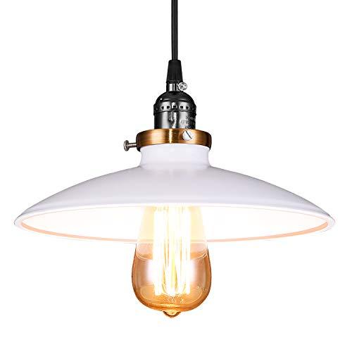 Lightess pendelleuchte weiß metall E27 hängelampe industrial vintage hängeleuchte retro industrie modern loft lampe decke Pendellampe für Esstisch Esszimmer Wohnzimmer Schlafzimmer usw.