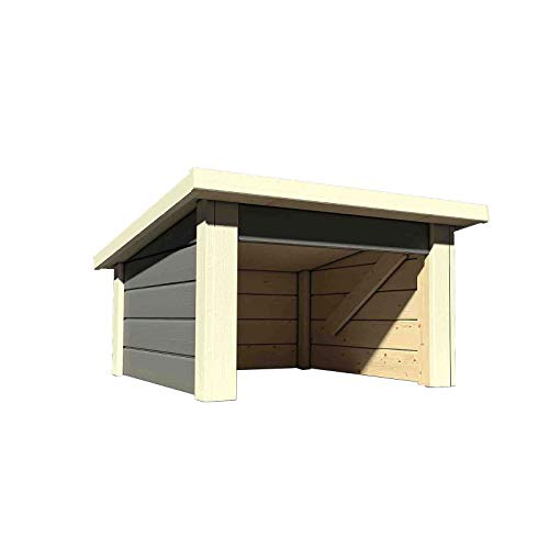 HORI Garage für Mähroboter I Rasenmäher Garage/Carport aus Holz I terragrau