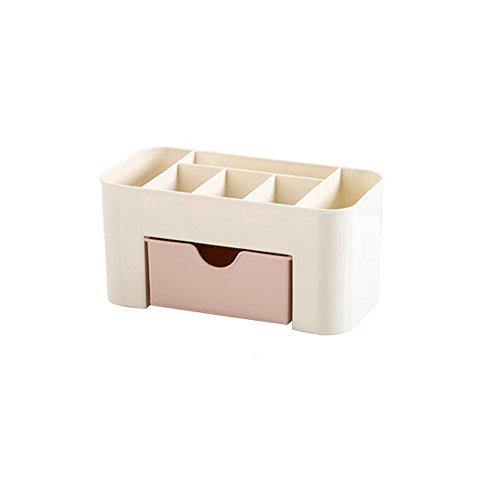 Desktop Kosmetische Aufbewahrungsbox Platz sparen Desktop-Kosmetik Make-up Schubladen Organizer Abteilung Schreibtisch Veranstalter für Schlafzimmer Badezimmer Büro (Rosa)