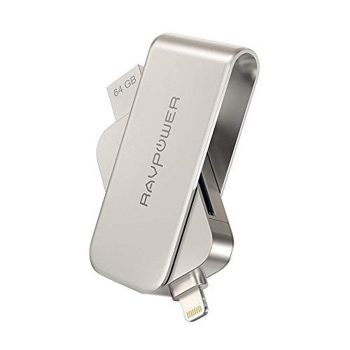 Flash Drive RAVPower 64GB iPhone Flash Laufwerk mit SD-Kartenleser MFi zertifiziert USB Stick für iPhone iPad mit externen Speicher SD-Karte Slot Lightning Stecker und USB 3.0
