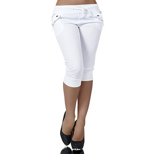 H967 Damen Chino Harem Hose Stoffhose Capri Bermuda Sommerhose Boyfriend Shorts, Farben:Weiß;Größen:38 (M)