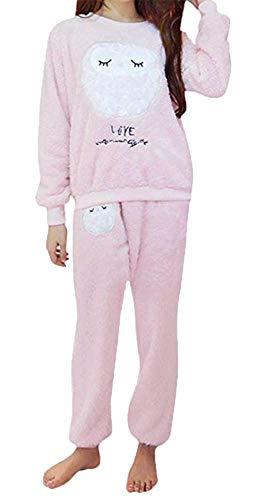 Damen Schlafanzug Eule Uhu Set Flanell Pyjama zweiteilig Langarm Nachtwäsche Winter (Eule Rosa, 2XL = EU Größe L)