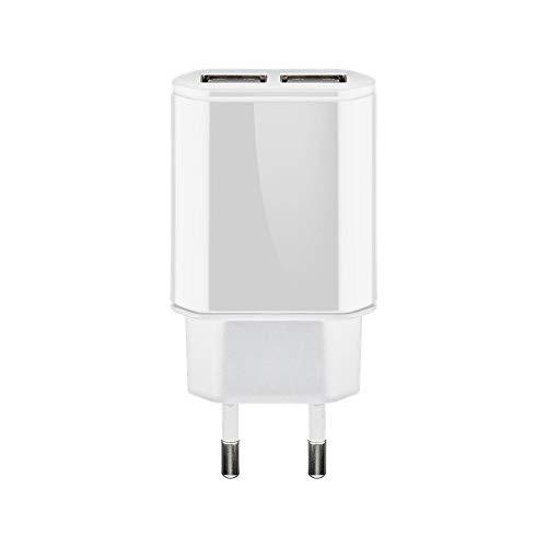 Goobay 73276 Dual USB-Ladegerät 2,4 A mit 2x USB-Buchse, intelligente Geräteerkennung, Überspannungsschutz, flache Bauform, Weiß -
