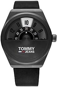 Tommy Hilfiger men's Black Dial Black Leather Watch - 179
