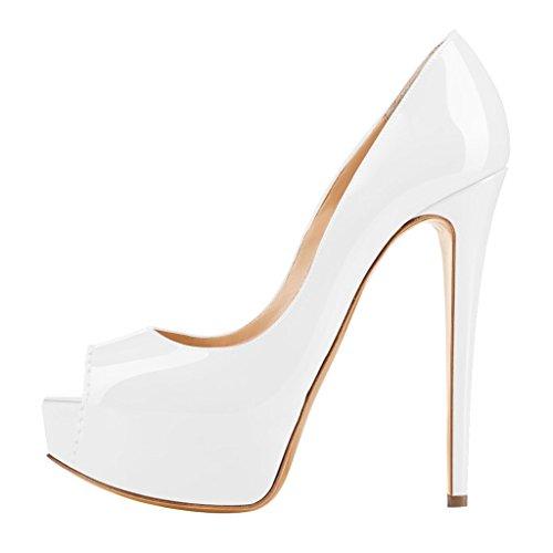 MERUMOTE Damen Y-108 Stilettos Peep Toe Plattform Hochzeit Pumps EU 35-46 White-lackleder