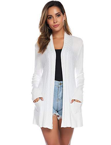 Sykooria Cardigan Damen Schwarz Langarm Leicht Komfortabel Sommer Strickjacke Weiß mit Tasche