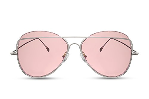 nbrille Pink Rosa Fliegerbrille Pilotenbrille Designer-Brille Getönt UV400 Metall Frauen ()