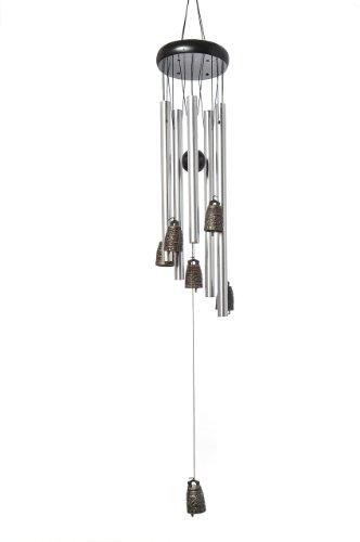 Quantum Abacus Windspiel Silberne Metallstangen und alte chinesische Glocken - 100% Handgefertigtes, wunderschön designtes Windspiel, fertig zum Aufhängen (T1008B DE)