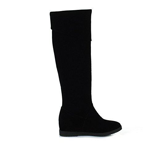 AllhqFashion Damen Blend-Materialien Hoch-Spitze Rein Ziehen auf Mittler Absatz Stiefel, Schwarz, 35