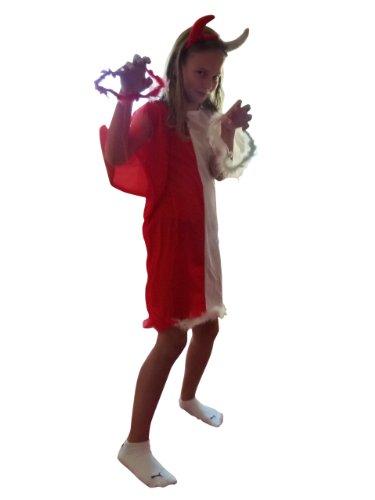 AN54 11-14 Jahre Teufel-Engel Kostüm, Halloween Kostüm, Teufelkostüm, Teufel Faschingskostüme, Teufel Karnevalskostüm, für Kinder, Jungen, Mädchen, für Fasching Karneval Fasnacht, auch als Geschenk zum Geburtstag oder Weihnachten