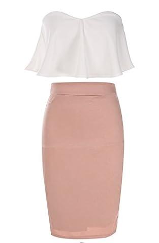 ZEARO Womens Crop Top Skirt Set Sexy Strapless Two-piece Bodycon Bandage Dress