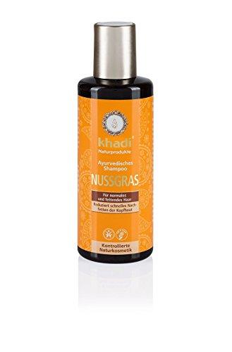 Khadi Ayurvedisches Shampoo Nussgras 210ml I natürliches Haar-Shampoo für jedes Haar I vegane Haar-Reinigung zur täglichen Haar-Wäsche I für besondere Sprungkraft I Naturkosmetik ohne künstliche Zusätze