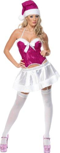 Smiffys Fever Holiday Cheer mit Rock und Oberteil, Hot Pink, Größe ()