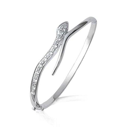 Bracelet Femme Jonc Argent 925 Rhodié OZ - Serpent